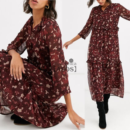 Flower Patterns Casual Style A-line Cropped Medium High-Neck