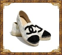 CHANEL Other Check Patterns Platform Tweed Espadrille Shoes