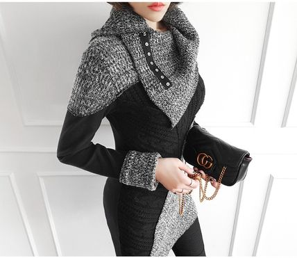 gumzzi Cable Knit Casual Style Street Style Long Sleeves Cotton