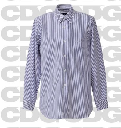 COMME des GARCONS Shirts Stripes Unisex Street Style Long Sleeves Cotton Logo 2