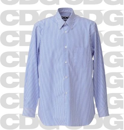 COMME des GARCONS Shirts Stripes Unisex Street Style Long Sleeves Cotton Logo 3