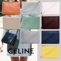 CELINE Trio Bag Casual Style Lambskin Plain Leather Office Style