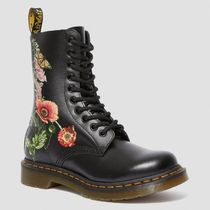 Dr Martens Flower Patterns Lace-up Casual Style Unisex Leather