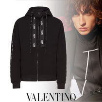 VALENTINO VLTN Long Sleeves Plain Oversized Logos on the Sleeves Logo
