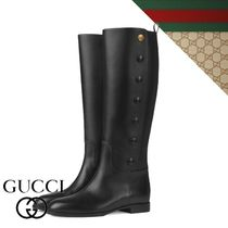 GUCCI Casual Style Plain Elegant Style Flat Boots