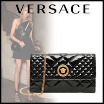 VERSACE Chain Plain Leather Elegant Style Clutches