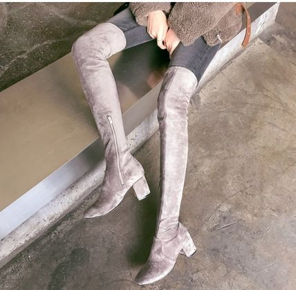Formal Style  Bridal Plain Toe Casual Style Suede Plain