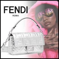 FENDI BAGUETTE Monogram Casual Style Calfskin Street Style Collaboration