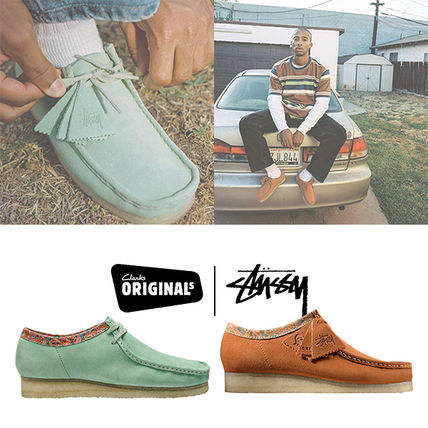STUSSY Flower Patterns Unisex Suede Street Style Leather