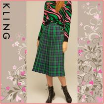 KLING Tartan Casual Style Pleated Skirts Midi Skirts