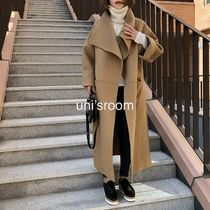 Casual Style Wool Cashmere Plain Long Handmade Party Style