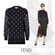 FENDI Casual Style Wool Cashmere Silk Street Style Long Sleeves