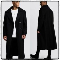 boohoo Other Check Patterns Street Style Plain Long Chester Coats