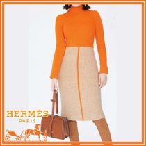 HERMES Tight Long Sleeves High-Neck Elegant Style Dresses