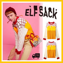ELF SACK Cable Knit Casual Style Street Style U-Neck Long Sleeves