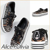Alice+Olivia Casual Style Blended Fabrics Leather Low-Top Sneakers