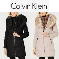 Calvin Klein Nylon Plain Long Office Style Elegant Style Coats