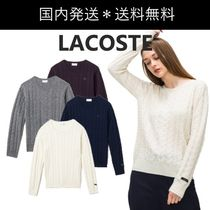 LACOSTE Crew Neck Cable Knit Casual Style Wool Cashmere U-Neck