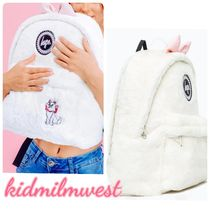 Disney Casual Style Faux Fur Collaboration A4 Backpacks