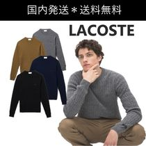 LACOSTE Crew Neck Cable Knit Wool Cashmere U-Neck Long Sleeves Plain