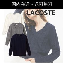 LACOSTE Cable Knit Casual Style Wool V-Neck Long Sleeves Plain