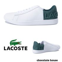 LACOSTE Plain Other Animal Patterns Leather Low-Top Sneakers