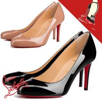 Christian Louboutin Fifille Square Toe Plain Leather Office Style Elegant Style