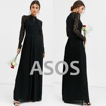 ASOS Maxi Long Sleeves Plain Long Party Style High-Neck Lace