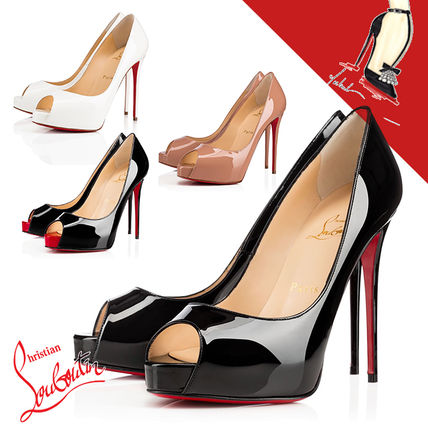 Christian Louboutin Open Toe Leather Pin Heels Party Style Elegant Style