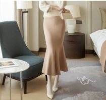 DINT Casual Style Maxi Plain Long Party Style Office Style