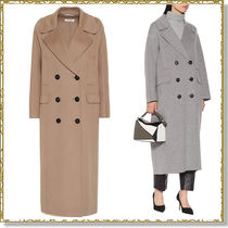 S Max Mara Wool Plain Long Peacoats