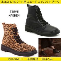 Steve Madden Leopard Patterns Round Toe Lace-up Casual Style Suede Plain