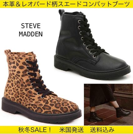 Leopard Patterns Round Toe Lace-up Casual Style Suede Plain