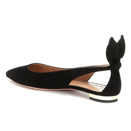 Suede Plain Leather Elegant Style Pointed Toe Shoes