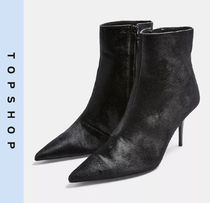 TOPSHOP Casual Style Leather Pin Heels Ankle & Booties Boots