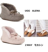 UGG Australia ALENA Round Toe Rubber Sole Sheepskin Faux Fur Plain Slip-On Shoes