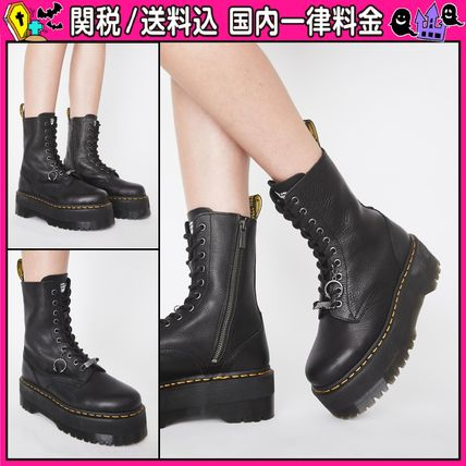 Platform Round Toe Casual Style Leather Mid Heel Boots