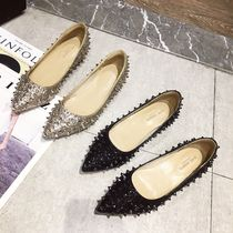 Casual Style Studded Plain Block Heels Party Style
