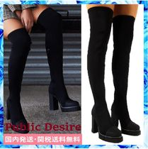 PUBLIC DESIRE Plain Block Heels Elegant Style Over-the-Knee Boots