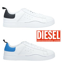 DIESEL Street Style Bi-color Plain Leather Sneakers