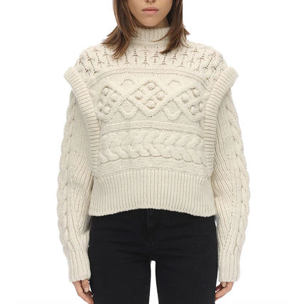 Cable Knit Short Casual Style Wool Long Sleeves Plain