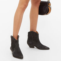 Isabel Marant Cowboy Boots Casual Style Suede Plain Leather Block Heels