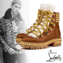 Christian Louboutin Mountain Boots Studded Plain Leather Outdoor Boots