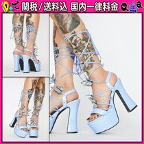 DOLLS KILL Open Toe Lace-up Party Style Chunky Heels Heeled Sandals