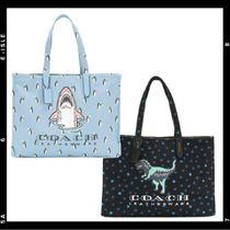 Coach Star Casual Style Canvas A4 Other Animal Patterns Totes
