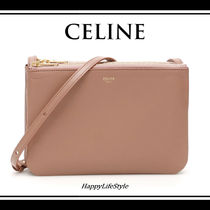 CELINE Trio Bag Lambskin 2WAY Plain Elegant Style Crossbody Logo Camera Bag