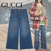 GUCCI Flower Patterns Denim Blended Fabrics Long
