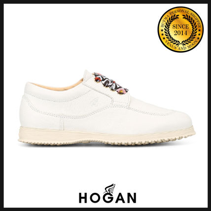 Round Toe Rubber Sole Casual Style Plain Leather Shoes