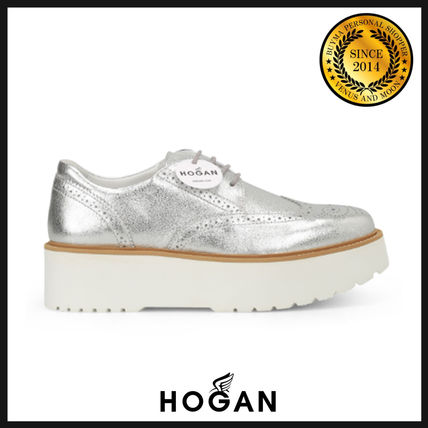 Round Toe Rubber Sole Casual Style Leather Shoes