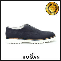 HOGAN Round Toe Rubber Sole Casual Style Leather Shoes